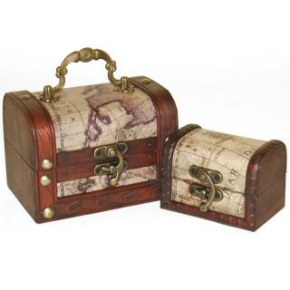 Lot de 2 coffres en bois carte mappemonde