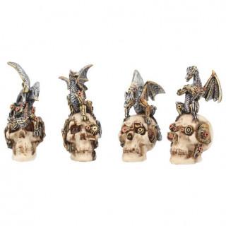 Lot de 4 cranes steampunk à dragons (10,5cm)