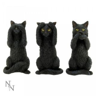 Lot de 3 figurines chats noirs de la sagesse