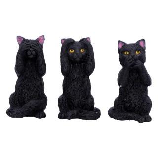 Lot de 3 figurines chattes noires de la sagesse (8,5 cm)