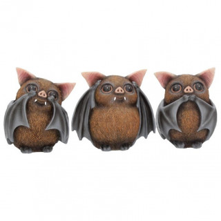 """Lot de 3 Figurines """" Les sages chauve-souris"""" - 8.5cm"""