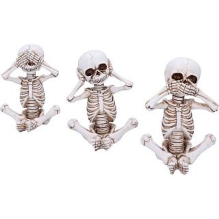 Lot de 3 figurines squelettes de la sagesse (13 cm)