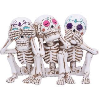Lot de 3 figurines squelettes façon crane de sucre mexicain