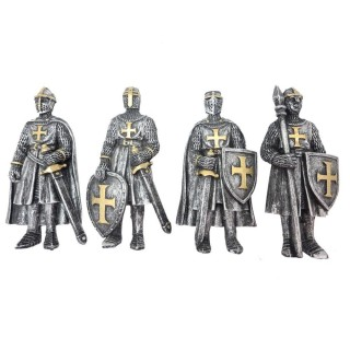 "Lot de 4 magnets templiers en armure ""Defend the Realm"""