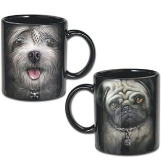 Lot de 2 mugs à chiens punk-rock