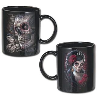 """Lot de 2 mugs gothiques """"Jour des morts"""" avec crane de sucre et Catrina"""