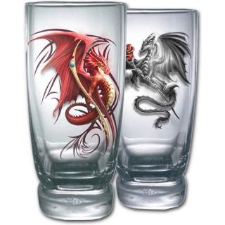 Lot de 2 verres transparents avec dragons scandinaves à sceptre et rose
