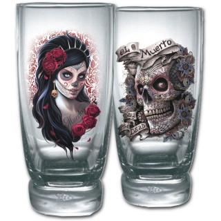 """Lot de 2 verres transparents avec femme masquée et crane de sucre """"Jour des morts"""""""