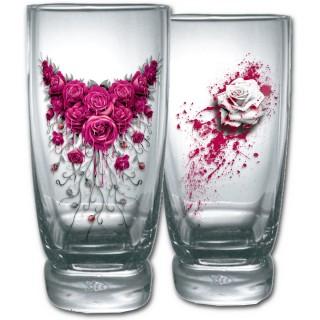Lot de 2 verres transparents avec roses ensanglantées