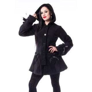 """Manteau femme à coeurs noirs """"ALISON COAT"""" - Poizen Industries"""