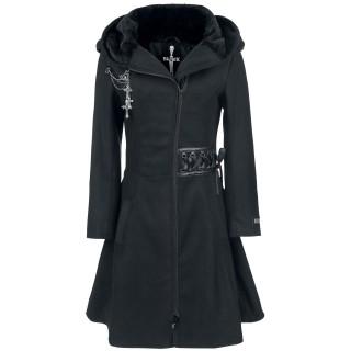 code promo 60279 26873 Achat Manteau femme gothique noir à rubans lacés et broche ...