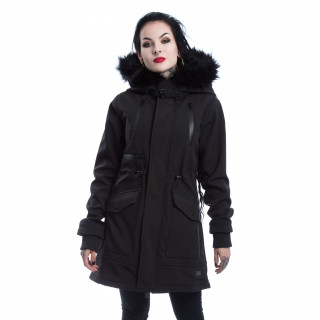 Manteau noir femme capuche fausse fourrure HELENE PARKA - Vixxin