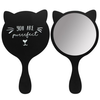 "Miroir à main en bois Chat noir ""You are purrrfect"""