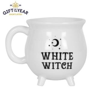 "Mug blanc en forme de chaudron ""White Witch"" (Sorcière blanche)"