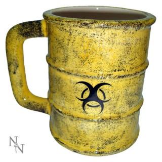 Mug en forme de baril de déchets toxiques avec symbole biohazard