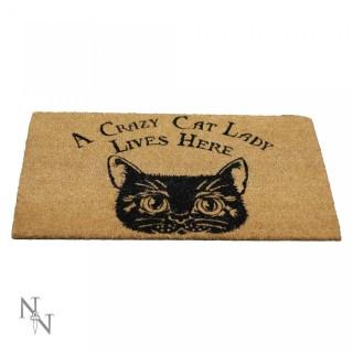 """Paillasson d'Extérieur / Tapis """"Une chatte folle vit ici"""" (45x75cm)"""