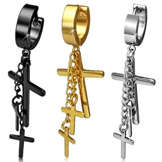 Paire de boucles d'oreilles en acier à chaines et croix suspendues