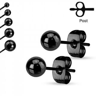 Paires de clous d'oreilles en acier à boules - Noir