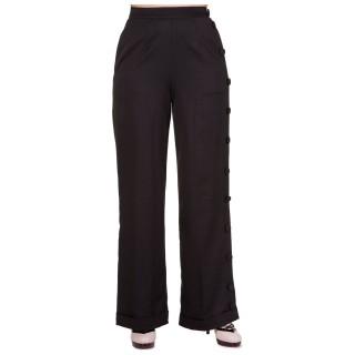 Pantalon femme taille haute noir à jambe boutons déco - BANNED