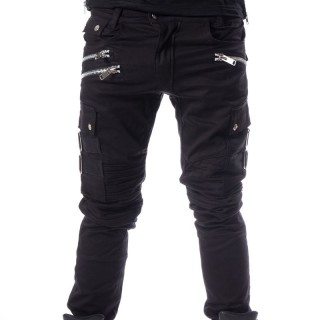 Pantalon homme noir à zips ANDERS - coupe droite - Chemical Black