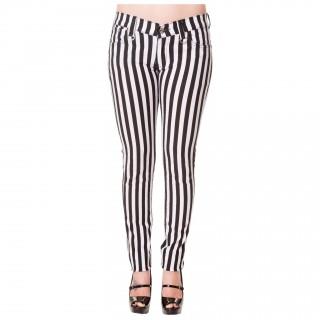 Pantalon jegging rayé noir et blanc - BANNED