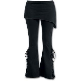 Pantalon Legging pattes d'eph à jupe (2en1) goth-rock noir