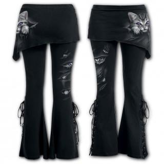 Pantalon Legging pattes d'eph / jupe avec chat gris à griffes sorties et déchirures