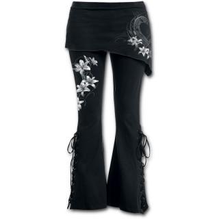 """Pantalon Legging pattes d'eph / jupe """"coeur pur"""" avec fleurs blanches"""