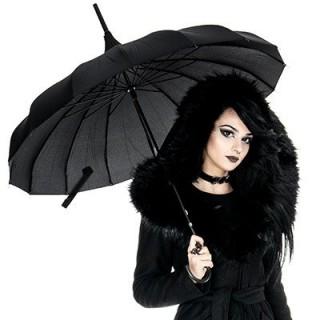 """Parapluie gothique """"Sorcière"""" noir style pagoda - Restyle"""