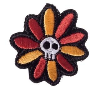 Patch tissu fleur à tête de mort - Banned