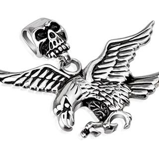 Pendentif acier aigle en vol à  bélière crane