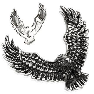 Pendentif acier aigle plongeant noirci à double bélière
