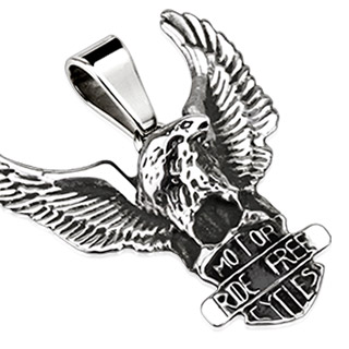Pendentif acier biker aigle avec bouclier Motor Ride Free Cycles