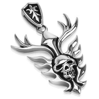Pendentif acier bouclier à crane embrasé et double lance