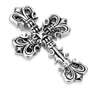 Pendentif acier croix avec fleurs de Lys aux extrémités
