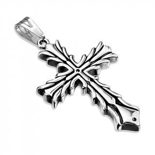Pendentif acier croix celtique flamboyante