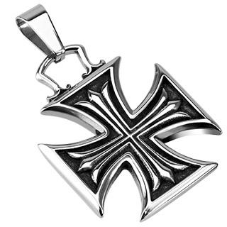 Pendentif acier croix de malte à reliefs
