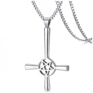 Pendentif acier croix de satan (inversée et pentacle)