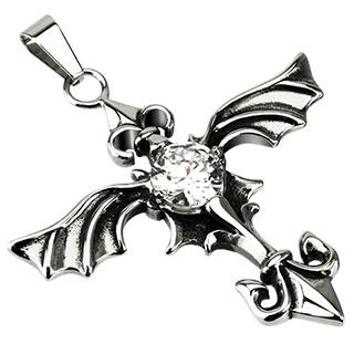 Pendentif acier croix gothique à ailes et fleur de Lys