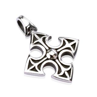 Pendentif acier croix médiéval celtique