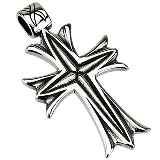 Pendentif acier croix noircie style voilé