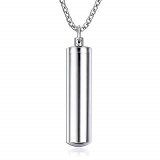Pendentif acier cylindre creux dévissable (urne / pilulier) + chaine