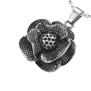 Pendentif acier fleur noire