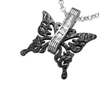 Pendentif acier papillon noir serti