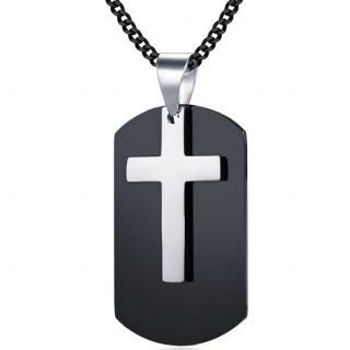 Pendentif acier plaque noire et croix argentée
