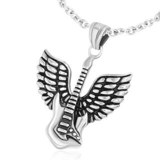 Pendentif acier rock guitare électrique avec ailes d'ange