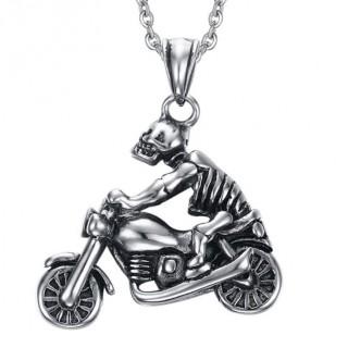 Pendentif acier squelette biker sur sa moto