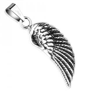 Pendentif aile d'ange noircie en acier