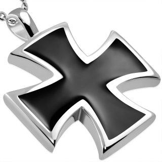 Pendentif croix de Malte noire et argentée en acier