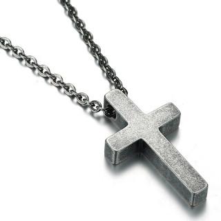 Pendentif croix effet béton en acier (+chaine)